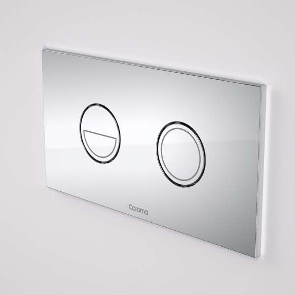 Caroma Invisi Series II® Round Dual Flush Plate & Buttons Neutrals (Metal)