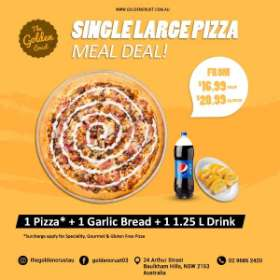 MEAL DEAL - PIZZA, GARLIC BREAD, LARGE DRINK