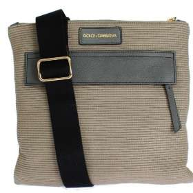 Beige Canvas Leather Crossbody Messenger Shoulder Bag
