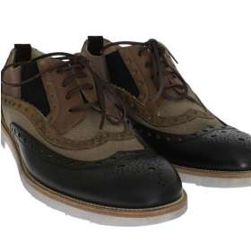 Beige Black Leather Wingtip Shoes
