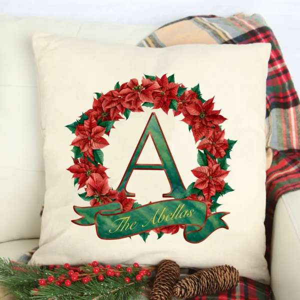 Cushion Cover – Christmas Red Wreath Design with your Initial and Name
